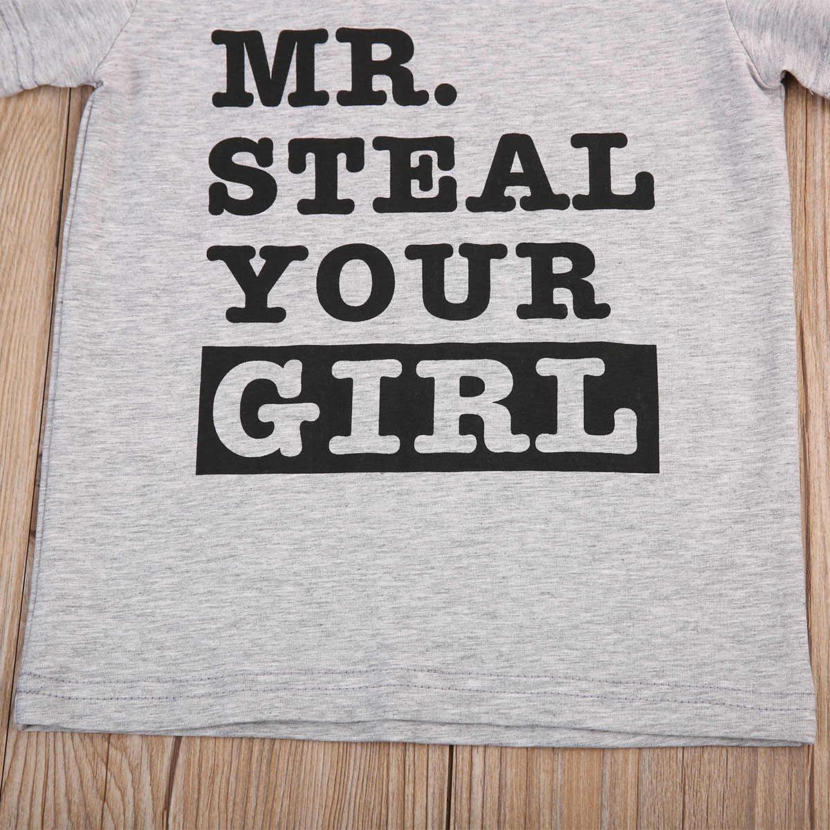 Pudcoco Pasgeboren Baby Jongens Grafische Tees Brief Mr Stelen Uw meisje Kids Jongens T-shirt Grijs