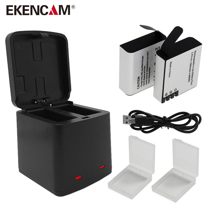 EKENCAM 2 Port Storage Box Charger with TUYU Battery for SJCAM SJ4000 Battery Sj5000 M10 SooCoo c30 F68 EKEN H5s H6s H9 Battery