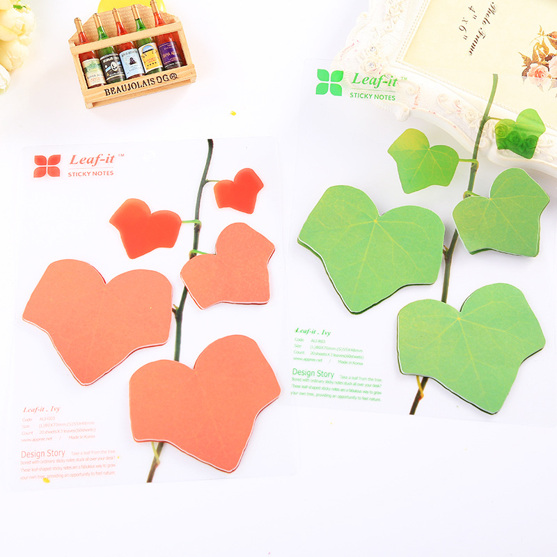 Cute Kawaii Paper Sticky Memo Pad Creative Maple Leaf Post It Note For Kids Korean Stationery Free Shipping BLT76