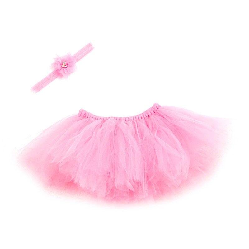 NoEnName-Null милый, для новорожденных девочек юбка-пачка и повязка на голову с цветком, наряд для фотосессий, Рождественский Костюм - Цвет: Pink