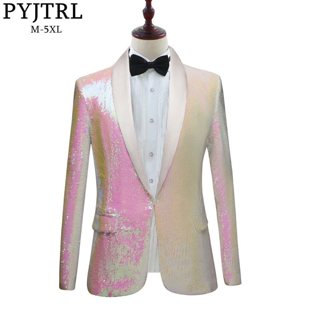PYJTRL New Men Pure White Pink Sequins Shawl Lapel Blazers Gentleman Prom Dress Suit Jacket Night Club Singers Slim Fit Costume-in Blazers from Men's Clothing    1