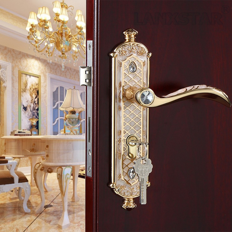 White Amber Color Zinc Alloy Handle Lock Indoor Mechanical Locks Manufacturers European Style Mute Lockcore Door-lock