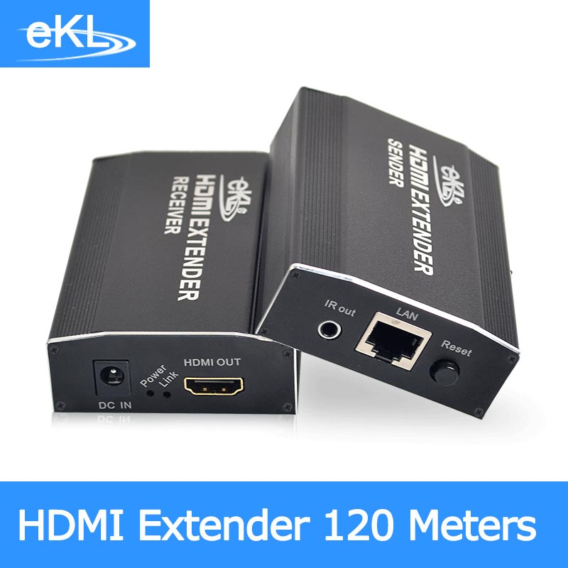 EKL New HDMI extender 120m over routers by cat6 cable up to 120M(receiver only) supports 1 TX to N RX 120m 150m 200m h 264 hdmi over tcp ip extender with 20 60 khz ir