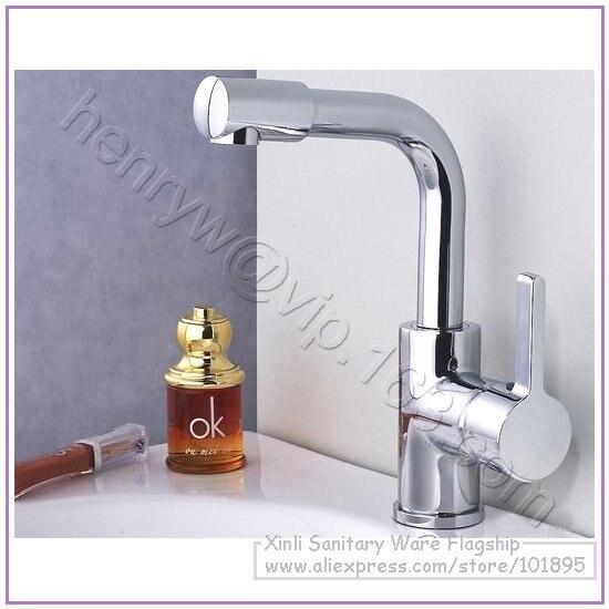 L16320-роскошный латунный Смеситель для раковины Горячая и холодная вода смеситель на бортике регулятор струи на 360 градусов - Цвет: Светло-серый