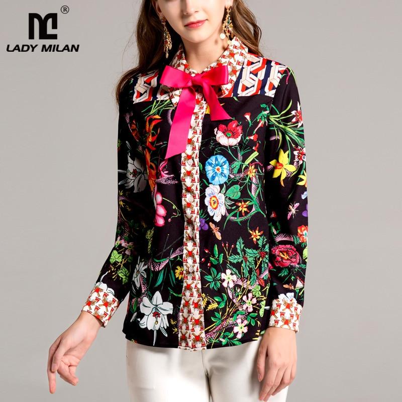 New Arrival 2018 Spring Womens Turn Down Collar Long Sleeves Floral Printed Bow Detailing Elegant Fashion Runway Shirts