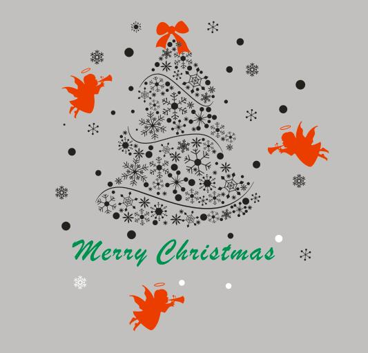 Christmas Tree Wall Decal Merry Christmas Tree Angles Mural Art Wall Sticker Clothes Shop Coffee Shop Window Glass Decoraton