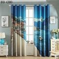 YO CHO hot sale nautical 3d blackout curtains for bedroom ready made Mediterranean sea side landscape European window curtains