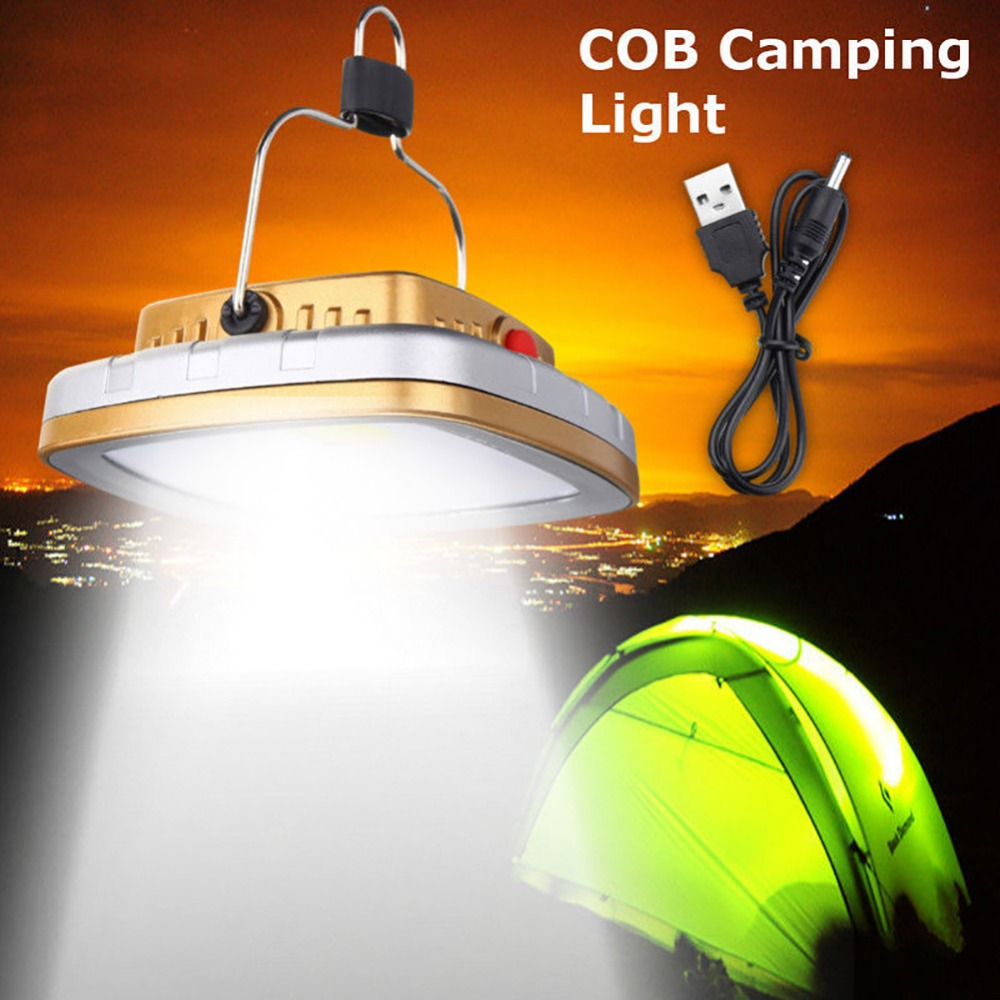 High Quality COB Solar Lawn Light USB Emergency Rechargeable Camping Lamp Tent Hanging Light For Night #278113
