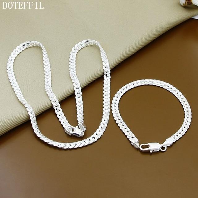2 Piece 925 Sterling Silver Necklace Bracelet  1