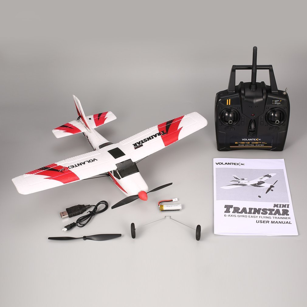 VOLANTEX V761-1 2.4Ghz 3CH Mini Trainstar 6-Axis Remote Control RC Airplane Fixed Wing Drone Plane RTF for Kids Gift PresentVOLANTEX V761-1 2.4Ghz 3CH Mini Trainstar 6-Axis Remote Control RC Airplane Fixed Wing Drone Plane RTF for Kids Gift Present