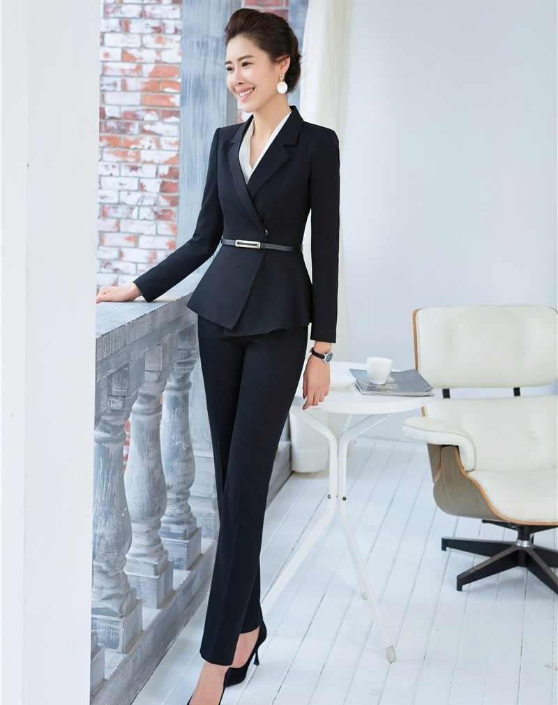 e0ef35b6e259 ... 2019 Primavera Verano Formal elegante traje de pantalón de mujer para damas  trajes de negocios Blazer ...