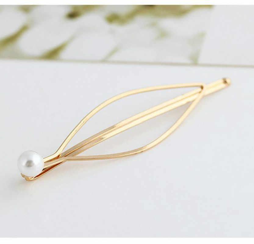 1Pcs Einfache Elegante Stil Baitie Perle lady Golden Haar Clip Haarband Pin Haarspange Braut Haarnadel Kopfschmuck Zubehör Styling