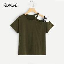 974a6a5dd31 ROMWE para asimétrico cuello carta grabado Tee 2019 verde del ejército de  manga corta gráfico camisetas mujeres verano Chic core.