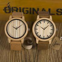 BOBO BIRD WA20A21 reloj de madera Casual hombres reloj de cuarzo de bambú con correas de cuero relojes mujer marca de lujo con regalo caja