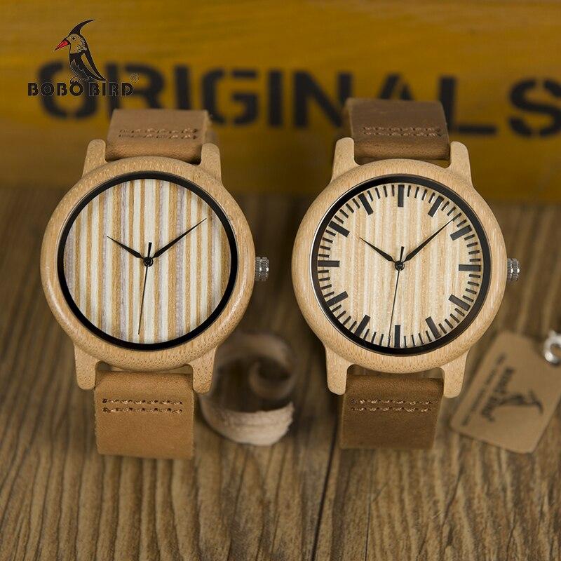 BOBO PÁSSARO WA20A21 Casuais Relógio De Madeira De Bambu Homens Relógios de Quartzo com Tiras De Couro relojes de lujo mujer marca Com Presente caixa