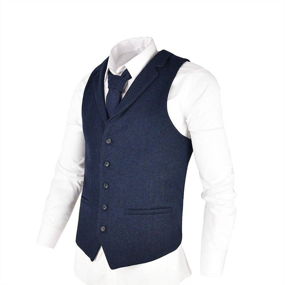 VOBOOM Темно-синие шерстяной твид костюм жилет для Для мужчин елочка Slim Fit Premium полушерстяные однобортный жилет 018 ...