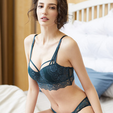 Shaonvmeiwu Autumn and winter sexy lace bra adjustment gather suit dark green new women deep V temptation