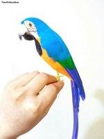 جميلة الأزرق ريش الببغاء الطيور حوالي 32 سنتيمتر نموذج الصلب الدعامة ، حديقة المنزل الديكور الحلي هدية s1465
