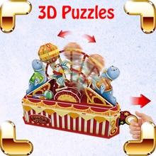Yeni il hədiyyəsi Sirk Qrupu 3D Bulmacalar Model Park Bina DIY Dynamic Assambleyası Oyuncaqlar Uşaqlar Uşaqlar Ailə Əl işi Əyləncəli oyun
