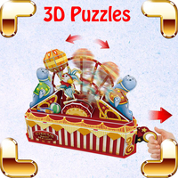New Year Gift Circus Troup 3D Puzzles Model Play Park Building DIY Dynamic Assemble Toys Kids Children Family Handmade Fun Game