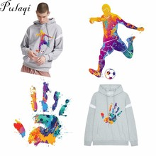 Pulaqi Colorful Hand Football Man Patches Iron On Transfer For T-Shirts Heat Thermal Transfers Patch Decor Clothes Sticker F