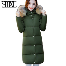 smxl plus size s-5XL Coat Ultra warm Duck Down Jacket lovers Overcoat Slim long Jackets Winter Coats Parkas Padded Rabbit thick