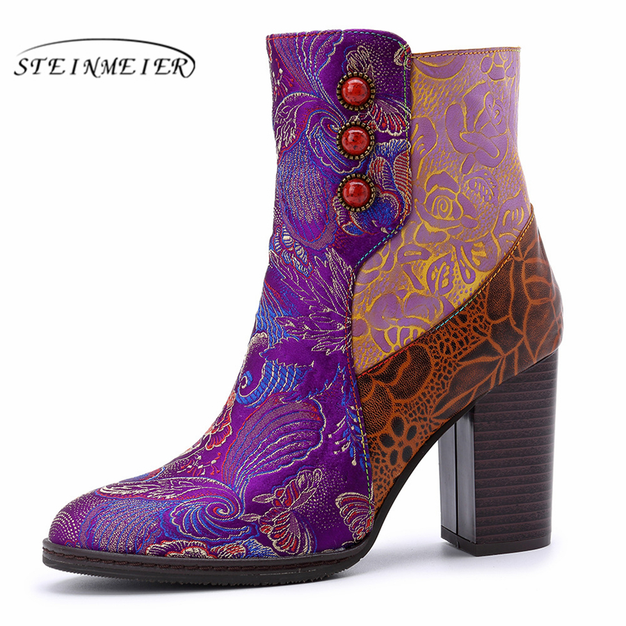 Women winter Boots Genuine cow Leather High heel Ankle Comfortable quality soft Shoes Brand Designer Handmade