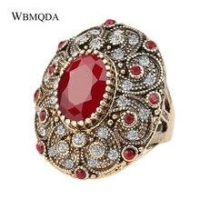 Joyería India Vintage Boho anillo de piedra roja Verde Negro Grande de lujo cristal antiguo oro anillos de boda para las mujeres 2020 nuevas llegadas