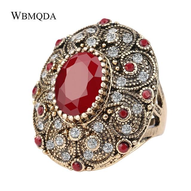 Vintage Indian Jewelry Boho Big Black Red Green Stone Ring Luxury Crystal Antiqu