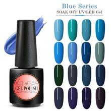 цена на MEET ACROSS Blue Gel Nail Polish Pure Colors Long Lasting Hybrid Nail Gel Lacquer Soak Off UV Gel Nails Design Gel Polish