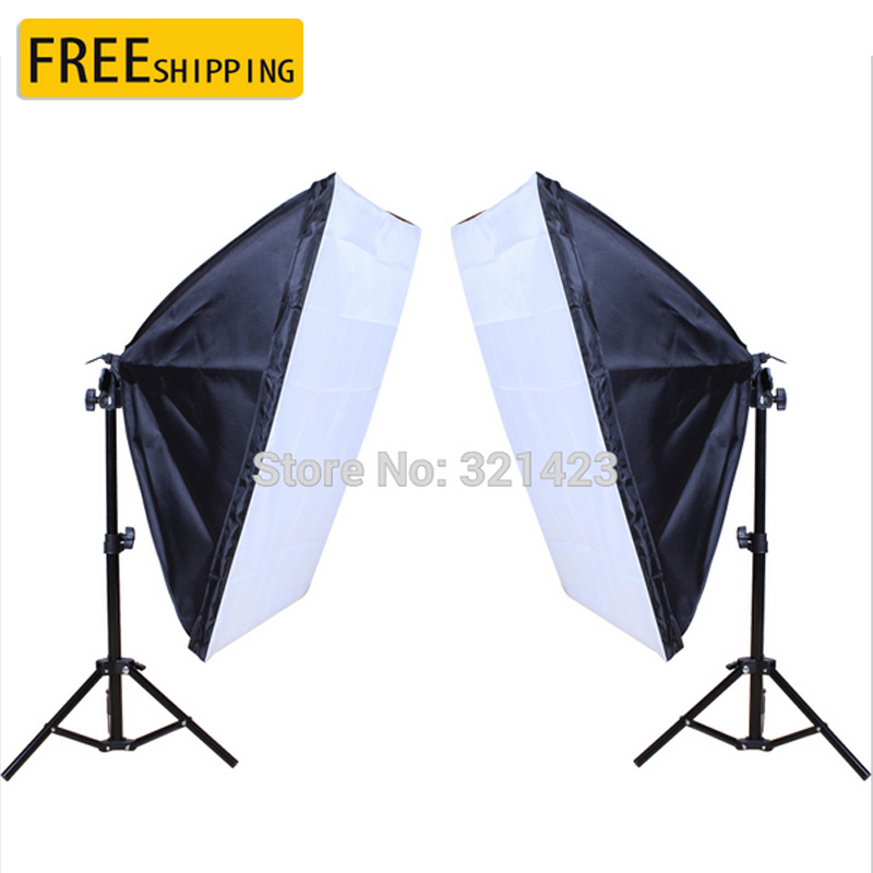 2PCS 50*70cm Continuous Lighting Softbox Single Lamp Holder 75cm Light Stand Photography Kit for Photo Studio