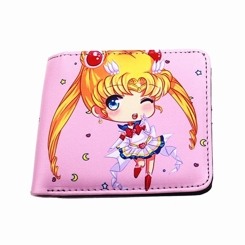 Hot Japanese Cartoon Orange Woman Purse Sailor Moon Sakura Cosplay Toy Wallets Lady Money Holder For Young Girl