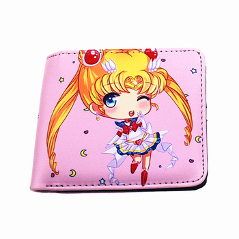 hot japanese cartoon Orange woman purse Sailor Moon Sakura cosplay toy wallets lady money holder for young girl Kids Wallets