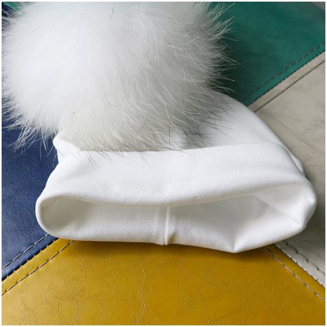 Baby Kid's Warm Hat with Raccoon Fur Pompom