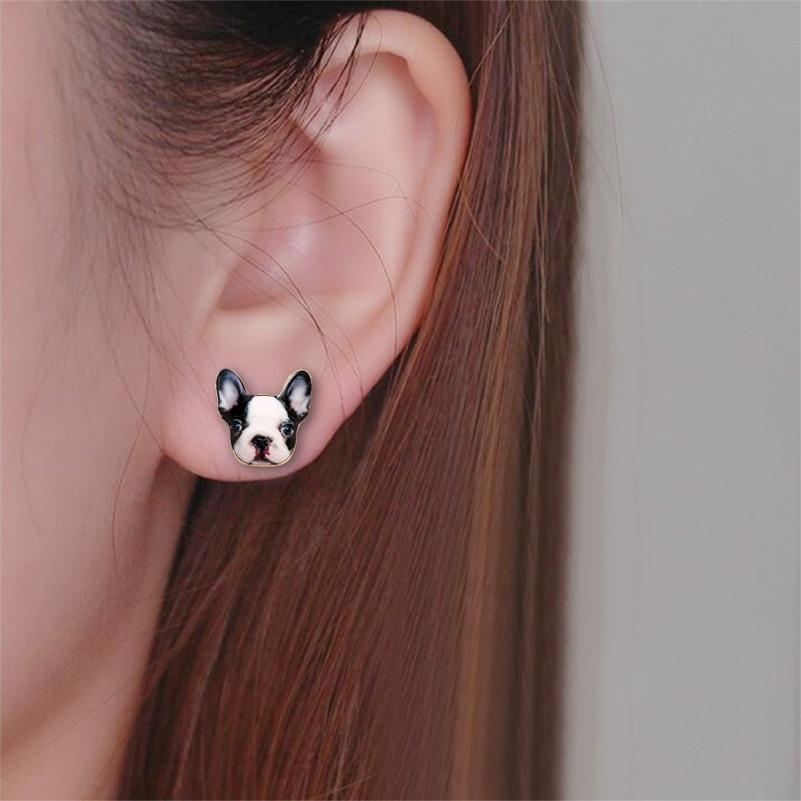 Shuangshuo Mode Vintage Öl Tier Französisch Bulldog Ohrringe für - Modeschmuck - Foto 2