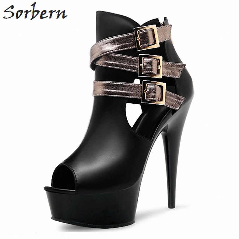 Sorbern 15 Cm/17 Cm/18 Cm/20 Cm bardzo wysokie obcasy botki dla kobiet platformy buty letnie buty z wystającym palcem buty damskie 2018 nowe