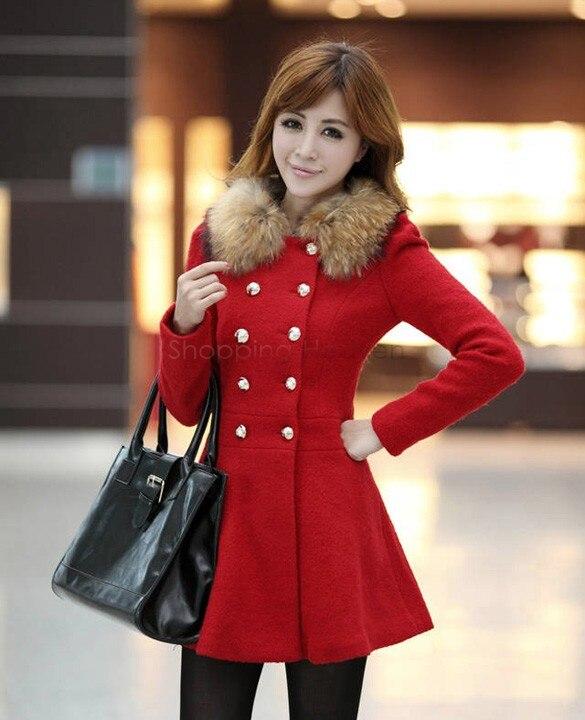 Outerwear & Coats Wool 2014 new fashion women's coat red winter ...