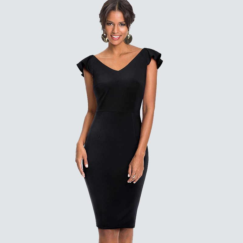 Женское сексуальное летнее платье с глубоким вырезом на спине и v-образным вырезом, элегантные деловые вечерние облегающие платья-карандаш с оборками HB428
