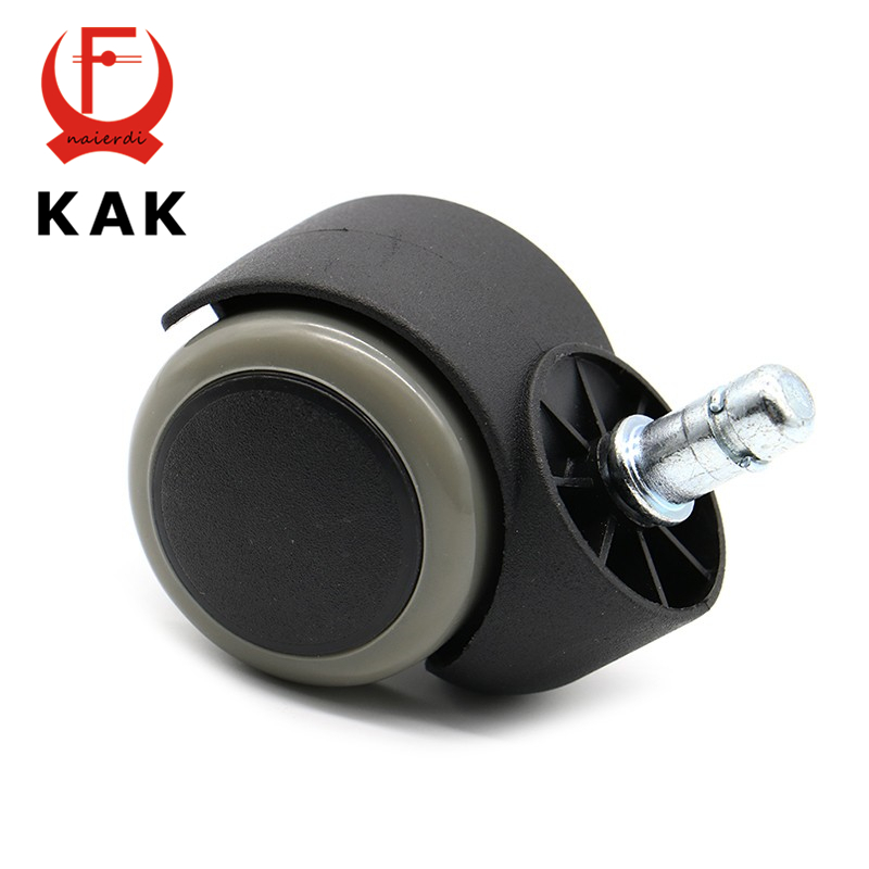KAK Gray 50KG Universal Mute Wheel 2 Replacement Office Chair Swivel Casters Rubber Rolling Rollers Wheels Furniture Hardware 2pcs black plastic 40mm replacement angle brake swivel casters office chair sofa wheels rolling roller caster furniture hardware