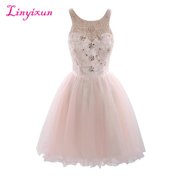 Linyixun Real Photo Hot Sale Short Homecoming Dresses 2017 Appliques Beaded Scoop Lace-Up Knee Length Tull Prom Dresses Custom