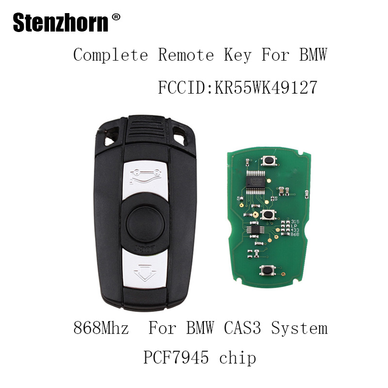 Stenzhorn 3Buttons 868Mhz Car Remote key DIY For BMW 1/3/5/7 Series CAS3 X5 X6 Z4 KR55WK49127 PCF7952 Chip Car key