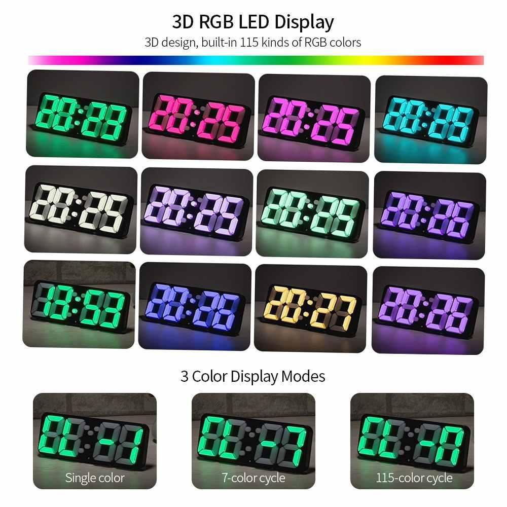3D беспроводной пульт дистанционного управления цифровые настенные часы RGB светодиодный Термометр Будильник USB Питание звук управление изменение цвета настольные часы