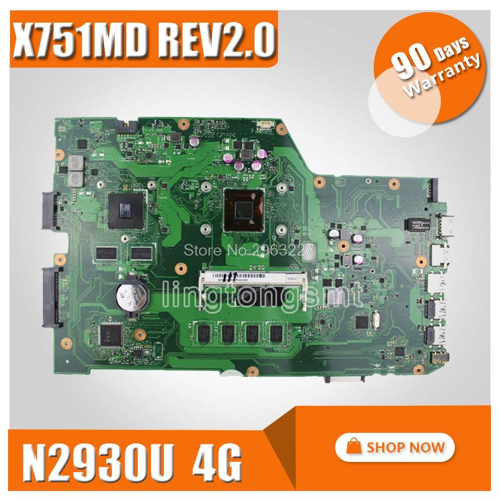 For ASUS X751MD Latop Motherboard 60NB0600-MB1800 REV2.0 X751MD Mainboard N2930 GT820M 1GB DDR3 Full Tested