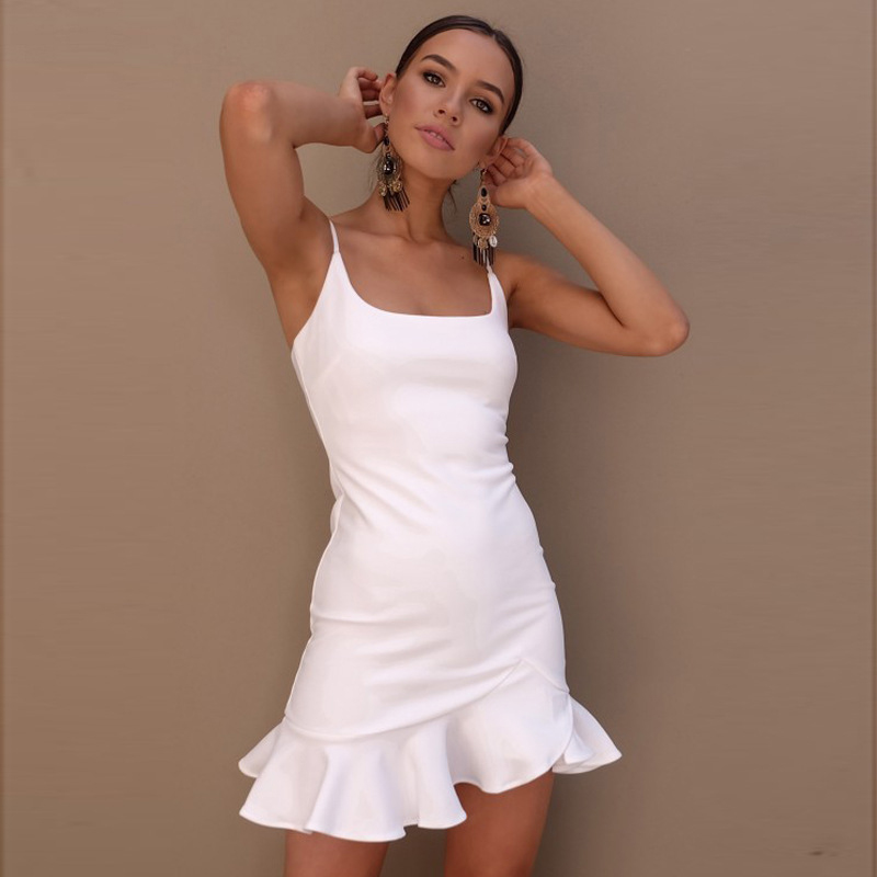 Sexy Mini Women Dress Summer V neck Ruffle Strap Dress Bodycon Party vestido in Dresses from Women 39 s Clothing