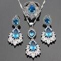 Conjuntos de Jóias de Cor prata Para As Mulheres Luz Azul Criado Topázio branco CZ Pingente de Colar Brincos Anéis Frete Caixa Livre navio