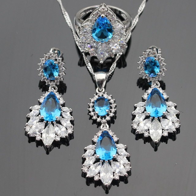 Silver Color Jewelry Sets For Women Light Blue Created Topaz White CZ Necklace Pendant Drop Earrings Rings Free Box Free Ship