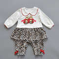 2017 New Spring Autumn wear baby long sleeve winter Footies doll collar Leopard bow jumpsuits kids clothes baby Climbing Cotton