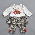 2017 Nueva Primavera Otoño ropa de bebé de manga larga Footies invierno collar de la muñeca Del Leopardo del arco del mono niños ropa de bebé ropa de Escalada de Algodón