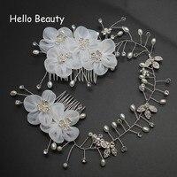 White Flower Headdress Floral Hair Comb Crystal Headpiece Pearl Jewelry Accessories Bridal Tiara Wedding Hair Chains