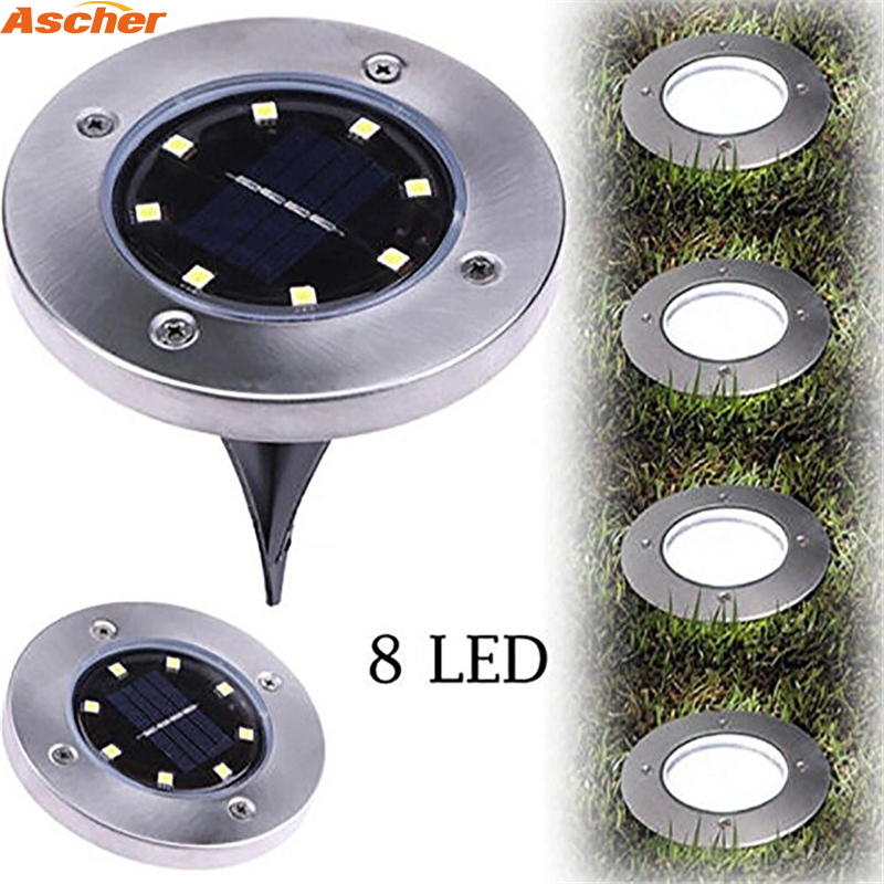 1PCS Waterproof 8 LED Solar Outdoor Ground Lamp Landscape Lawn Yard Stair Underground Buried Night Light Home Garden Decoration ip65 waterproof 8 led solar outdoor ground lamp landscape lawn yard stair underground buried night light home garden decoration